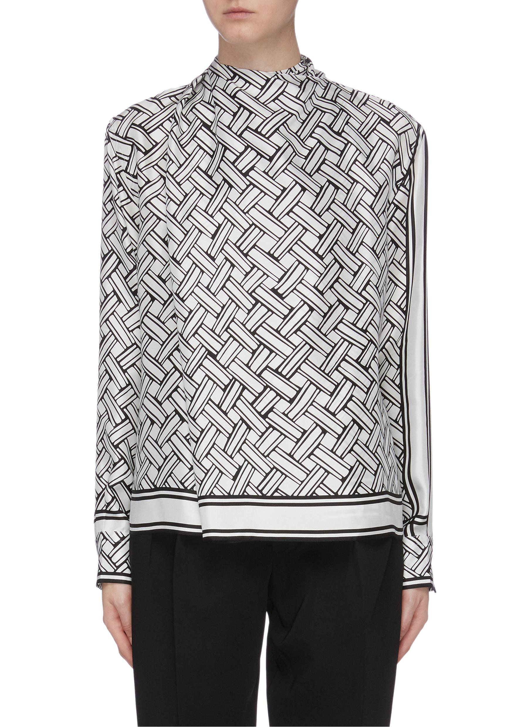shop Bottega Veneta Sash scarf neck weave graphic print silk blouse online