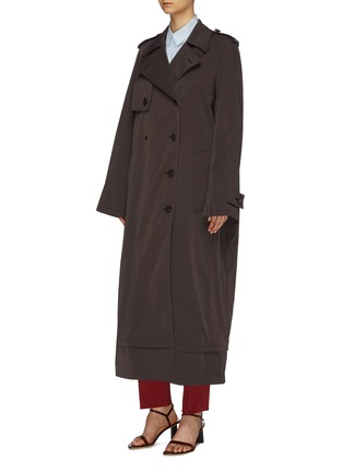 Front View - Click To Enlarge - BOTTEGA VENETA - Contrast belted oversized trench coat