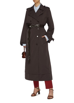 Figure View - Click To Enlarge - BOTTEGA VENETA - Contrast belted oversized trench coat