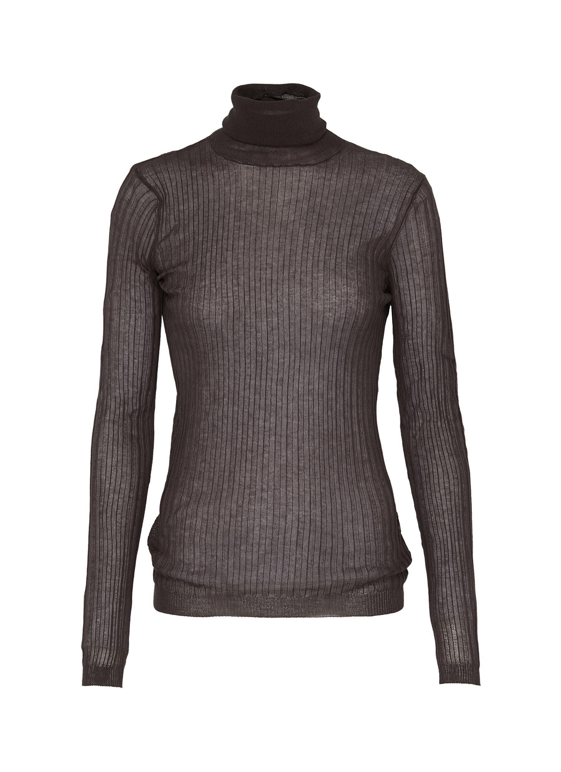 Sheer rib knit turtleneck sweater by Bottega Veneta