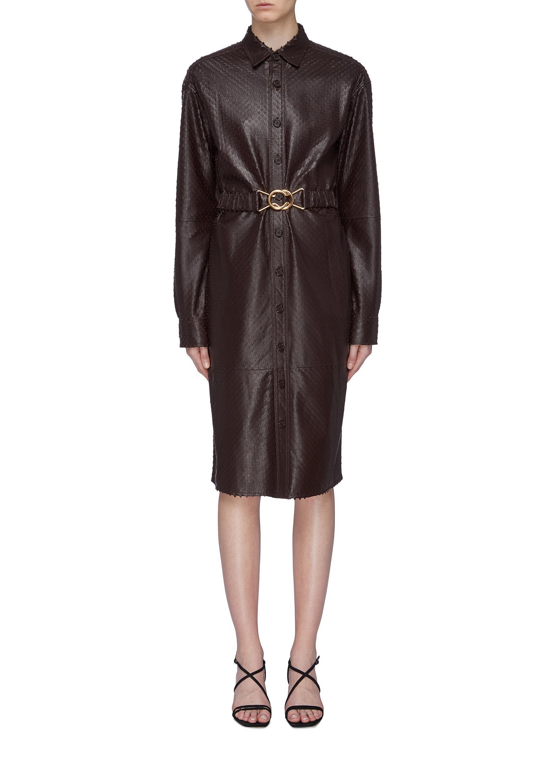 shop Bottega Veneta Belted laser cut leather shirt dress online