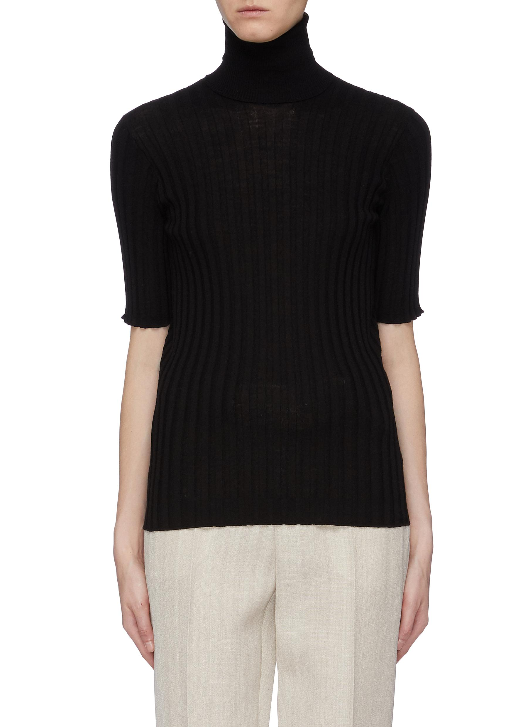 shop Bottega Veneta Rib knit turtleneck short sleeve sweater online