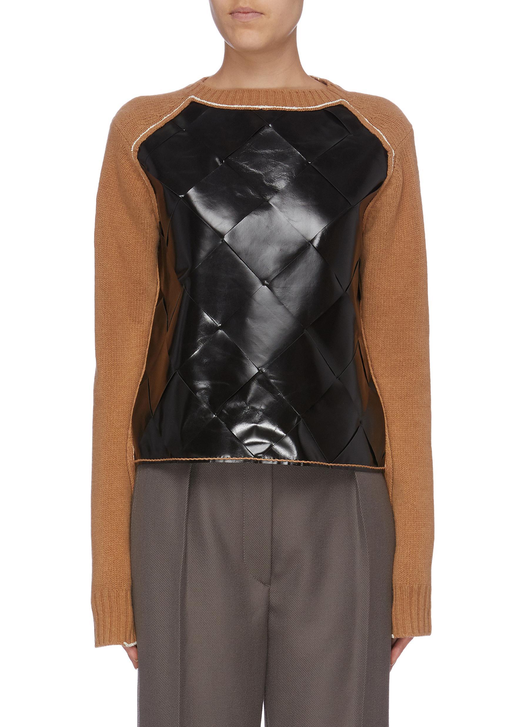Colourblock woven leather panel wool sweater by Bottega Veneta
