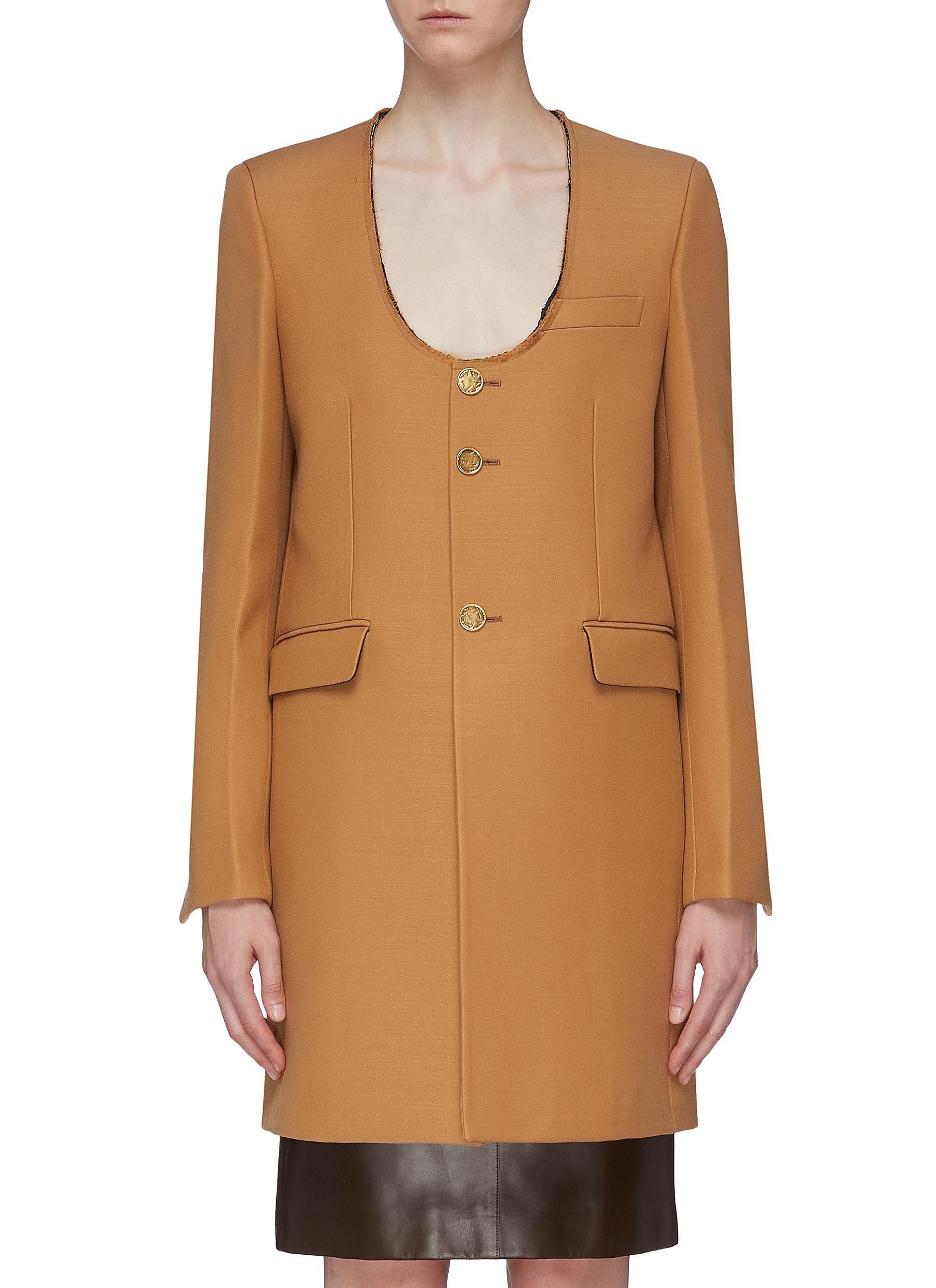 Distressed scoop neck coat by Bottega Veneta