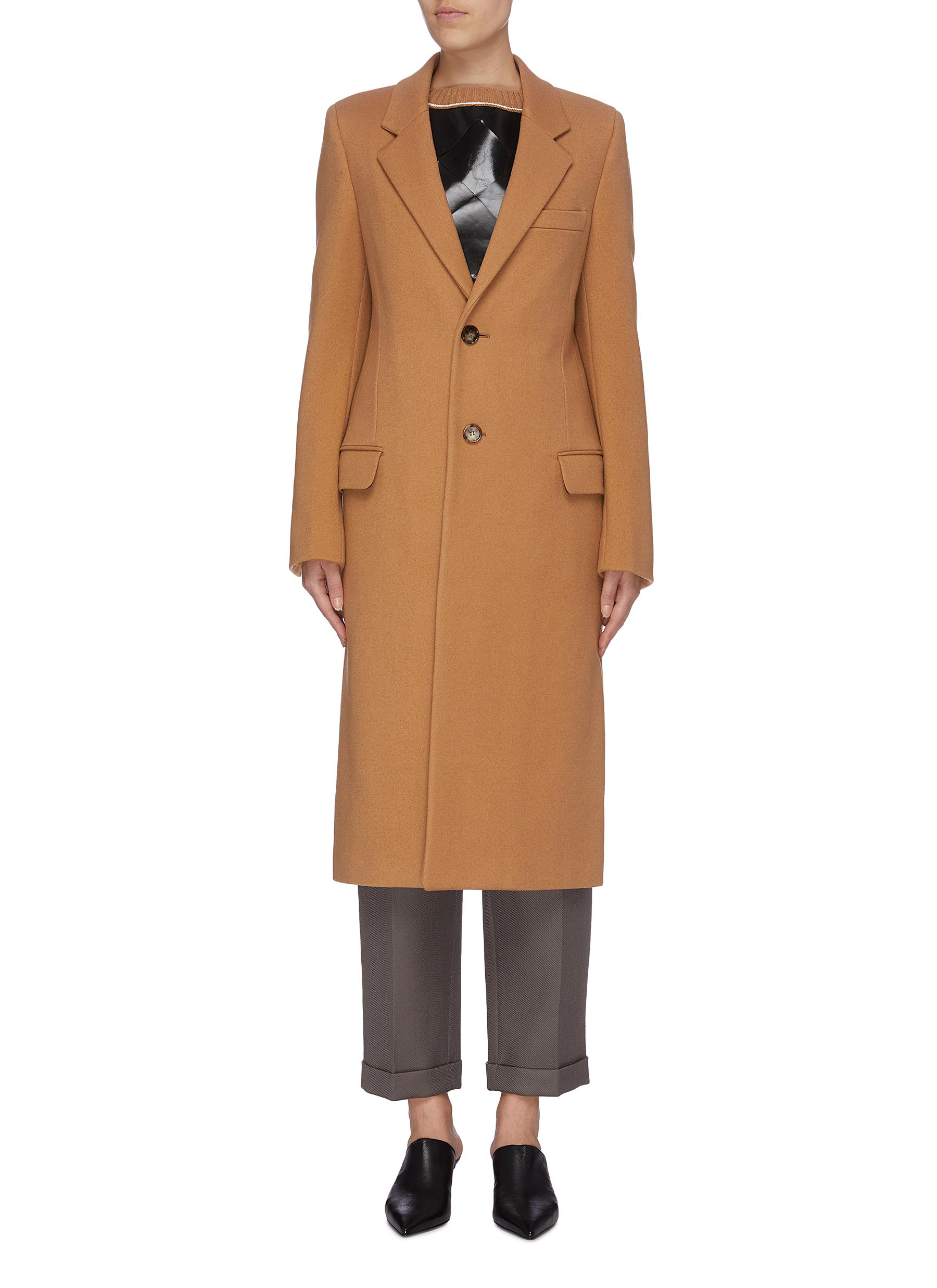 shop Bottega Veneta Belted back notched lapel wool coat online