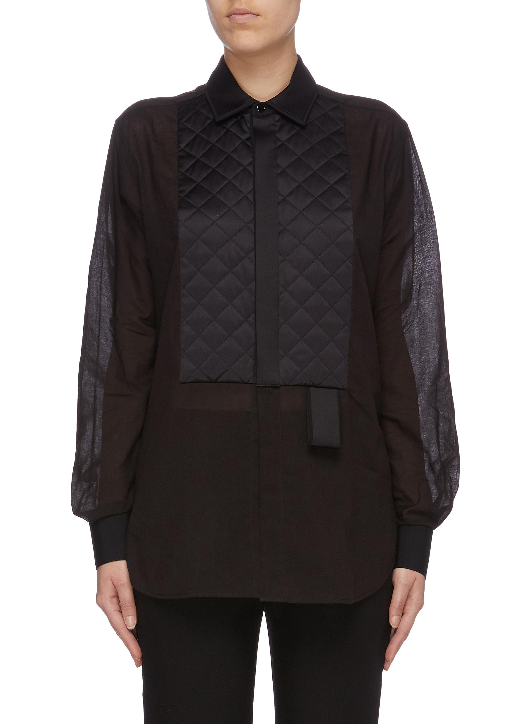 Quilted satin bib voile shirt by Bottega Veneta