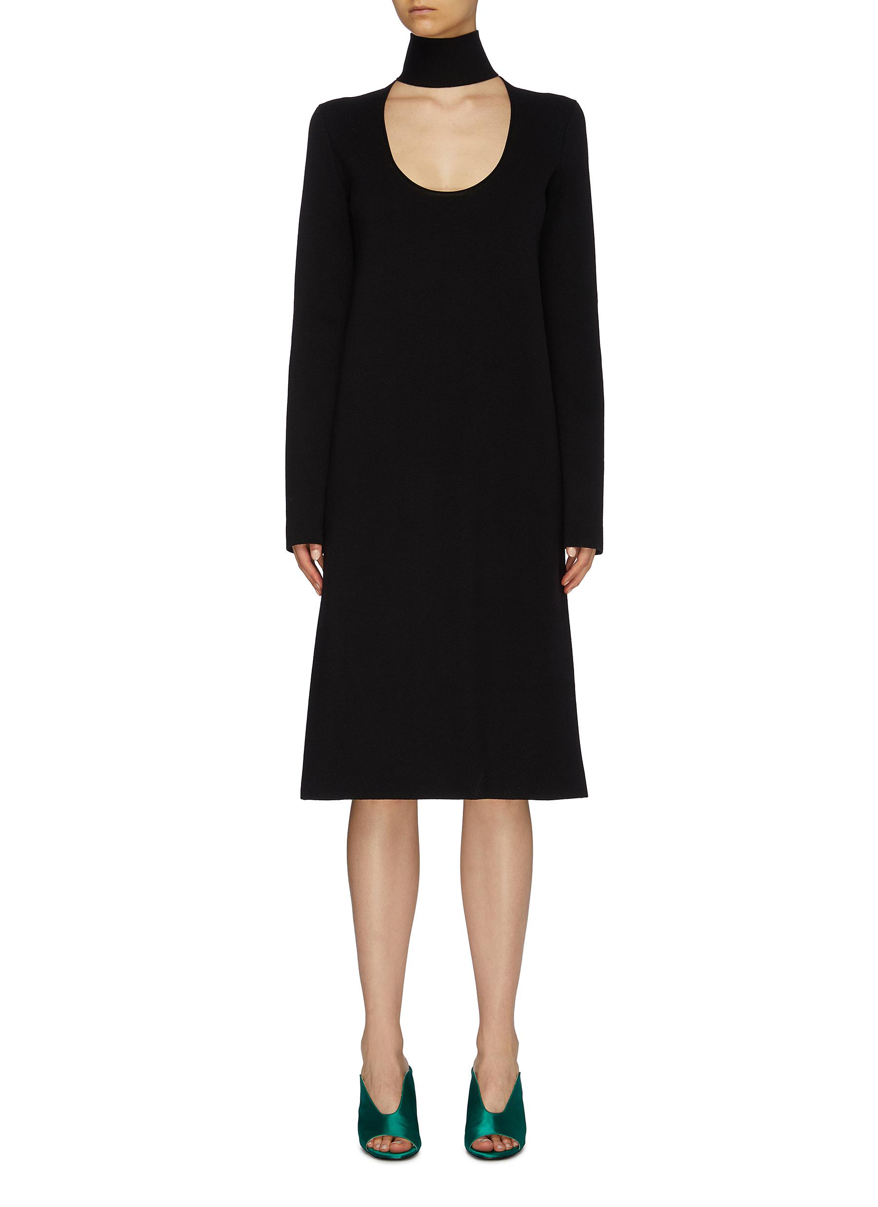 shop Bottega Veneta Cutout yoke knit turtleneck dress online