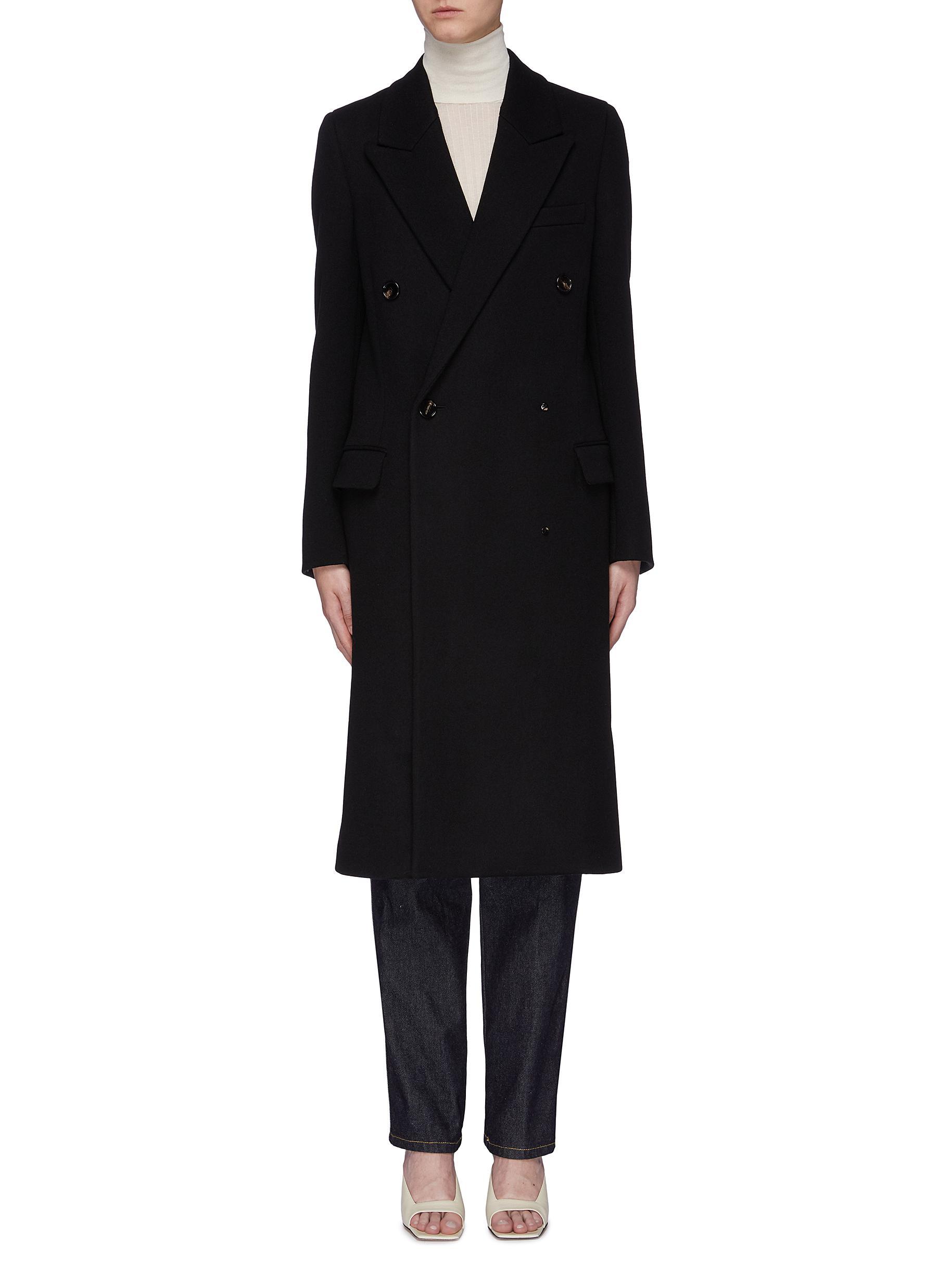 Belted back double breasted wool melton coat by Bottega Veneta