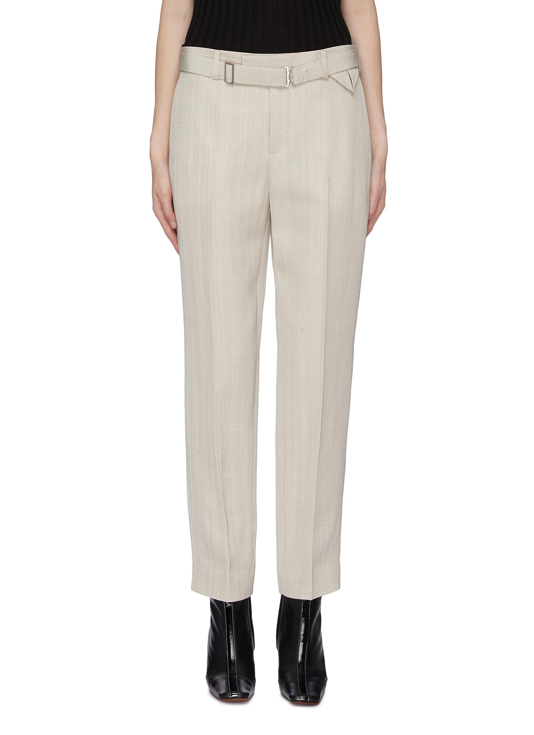 Belted cropped suiting pants by Bottega Veneta