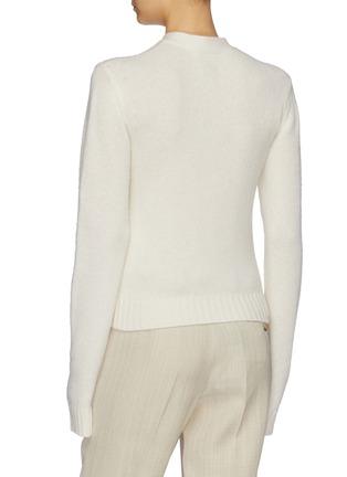 Back View - Click To Enlarge - BOTTEGA VENETA - Button side cropped wool wrap cardigan