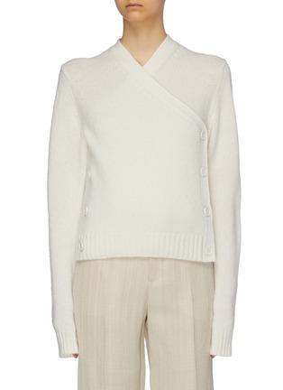 Main View - Click To Enlarge - BOTTEGA VENETA - Button side cropped wool wrap cardigan