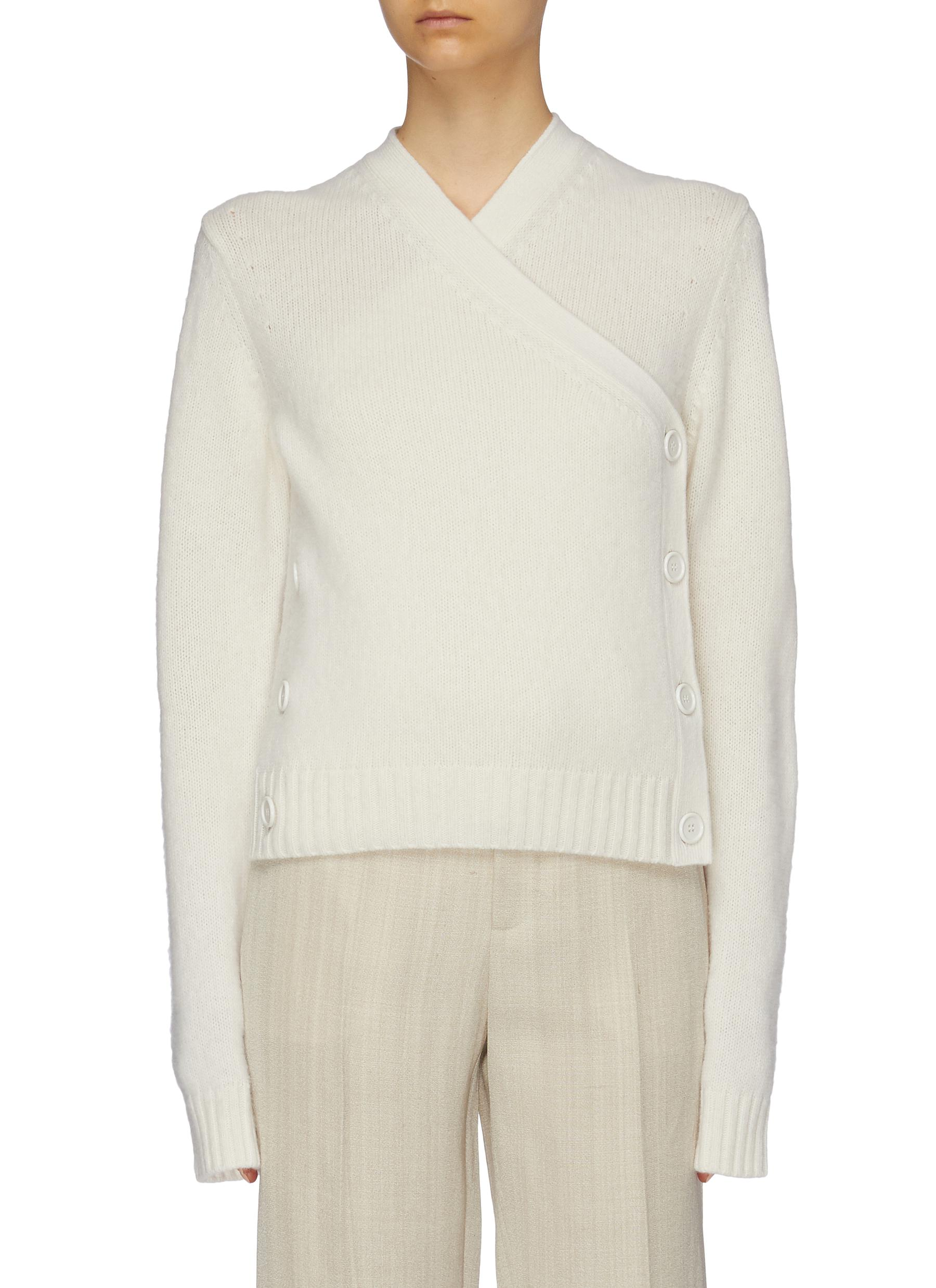 Button side cropped wool wrap cardigan by Bottega Veneta