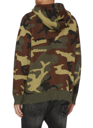 Back View - Click To Enlarge - R13 - Distressed border camouflage jacquard cashmere knit hoodie