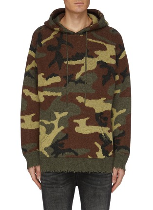 Main View - Click To Enlarge - R13 - Distressed border camouflage jacquard cashmere knit hoodie