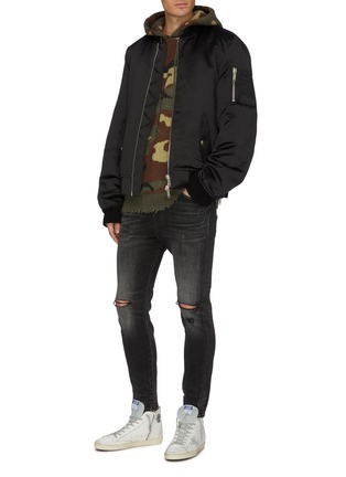 Figure View - Click To Enlarge - R13 - Distressed border camouflage jacquard cashmere knit hoodie