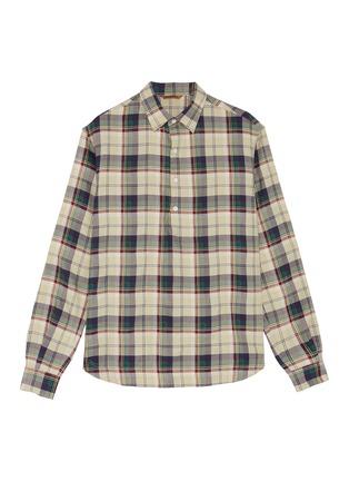 Main View - Click To Enlarge - BARENA - Tartan plaid half placket twill shirt