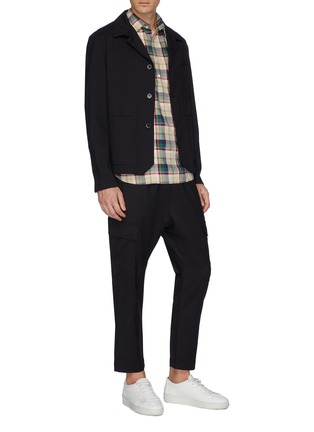Figure View - Click To Enlarge - BARENA - Tartan plaid half placket twill shirt