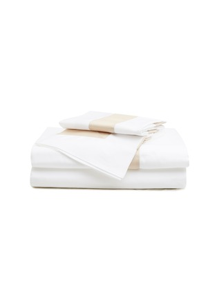 Main View - Click To Enlarge - FRETTE - Bicolore queen size duvet set – White/Savage Beige