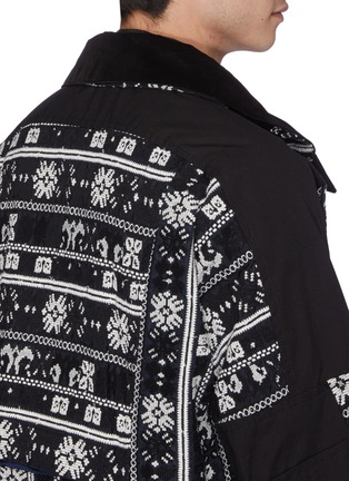 Detail View - Click To Enlarge - SACAI - Detachable hood floral cross stitched patchwork jacket