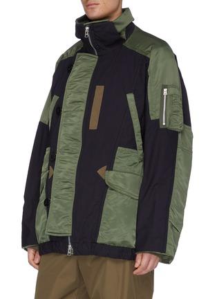 Detail View - Click To Enlarge - SACAI - 'MA1' detachable hood colourblock patchwork jacket