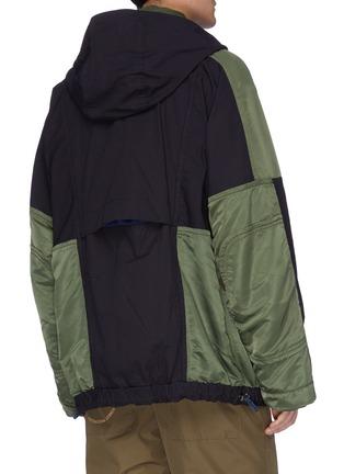 Back View - Click To Enlarge - SACAI - 'MA1' detachable hood colourblock patchwork jacket