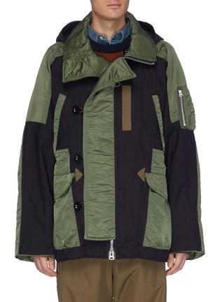 Main View - Click To Enlarge - SACAI - 'MA1' detachable hood colourblock patchwork jacket