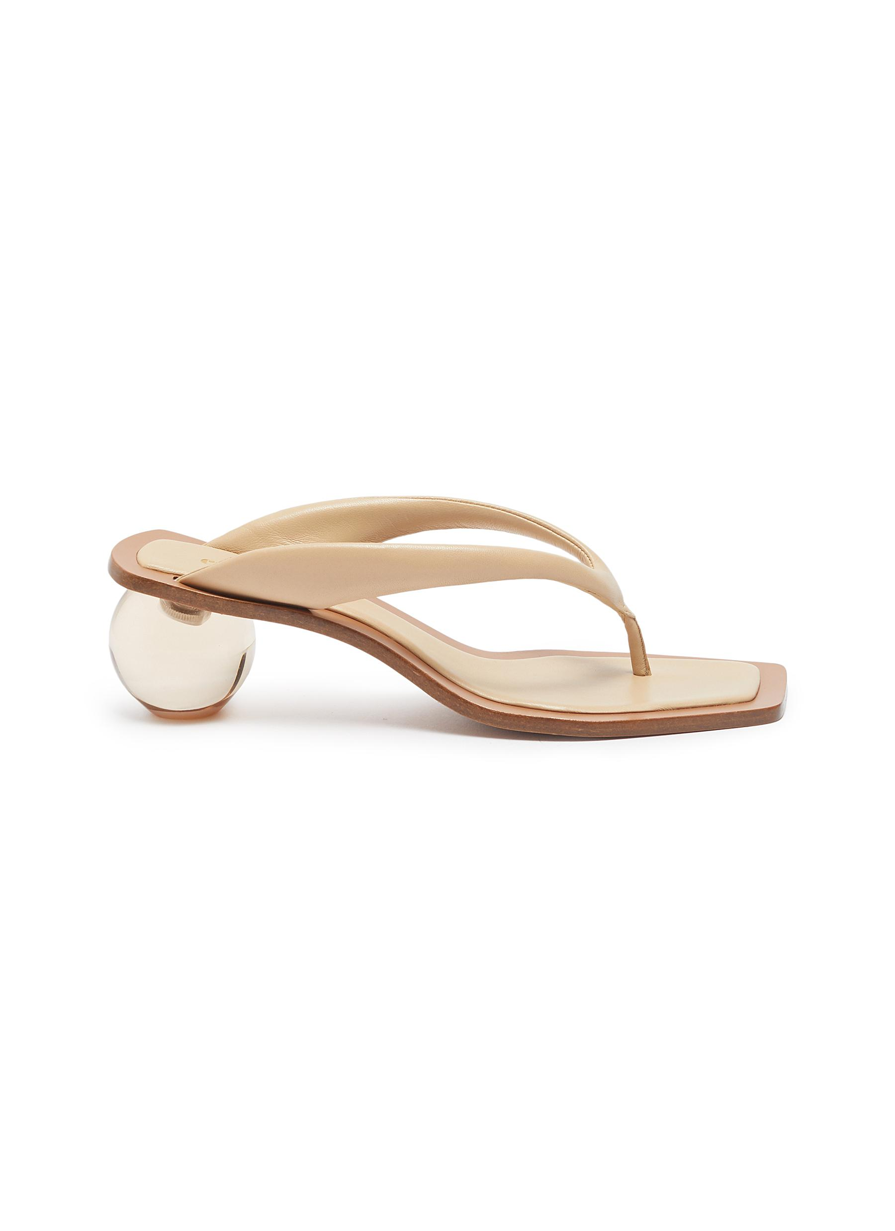 Jasmin circle heel leather thong sandals by Cult Gaia