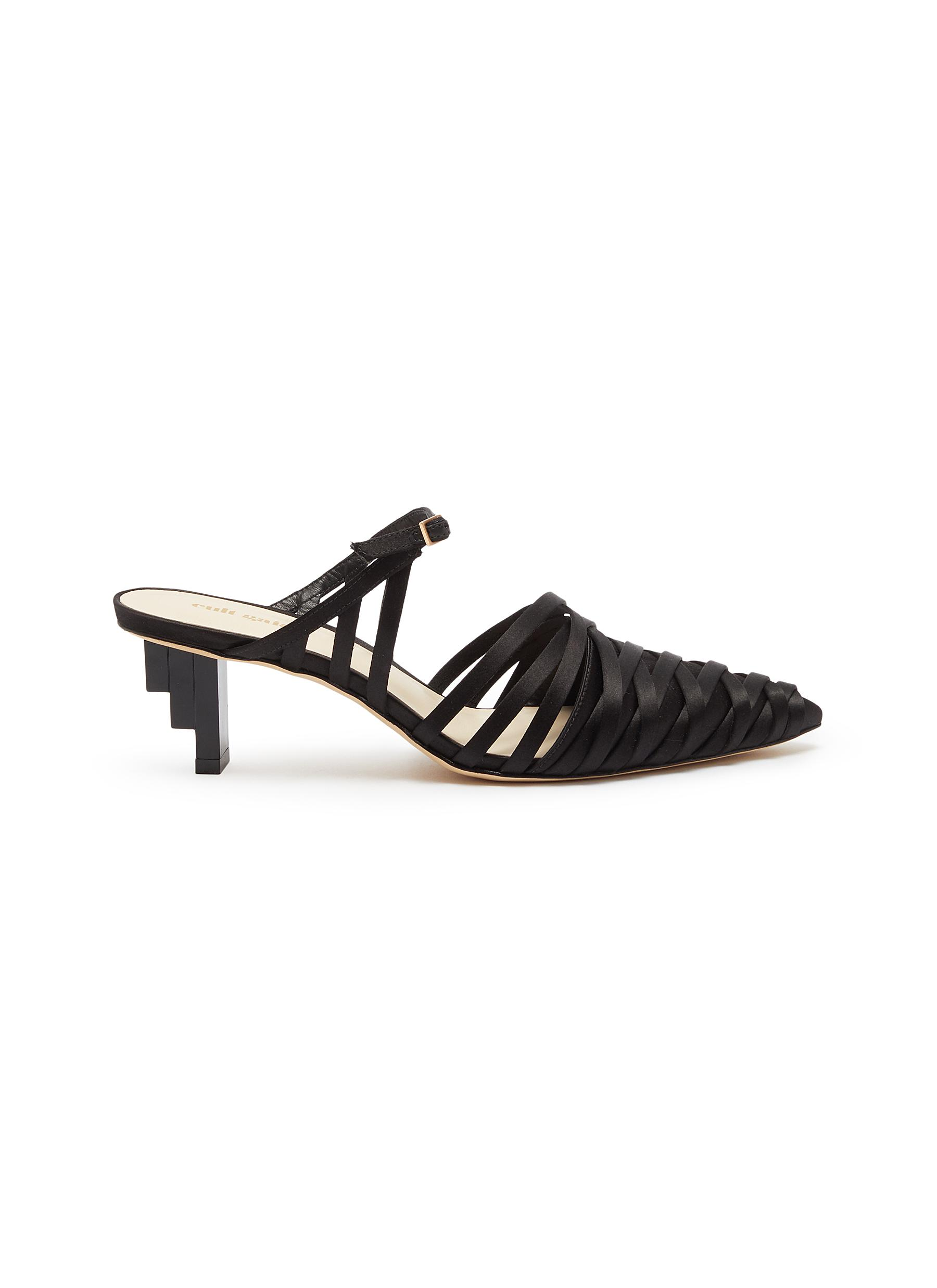 Liora staggered heel strappy satin mules by Cult Gaia