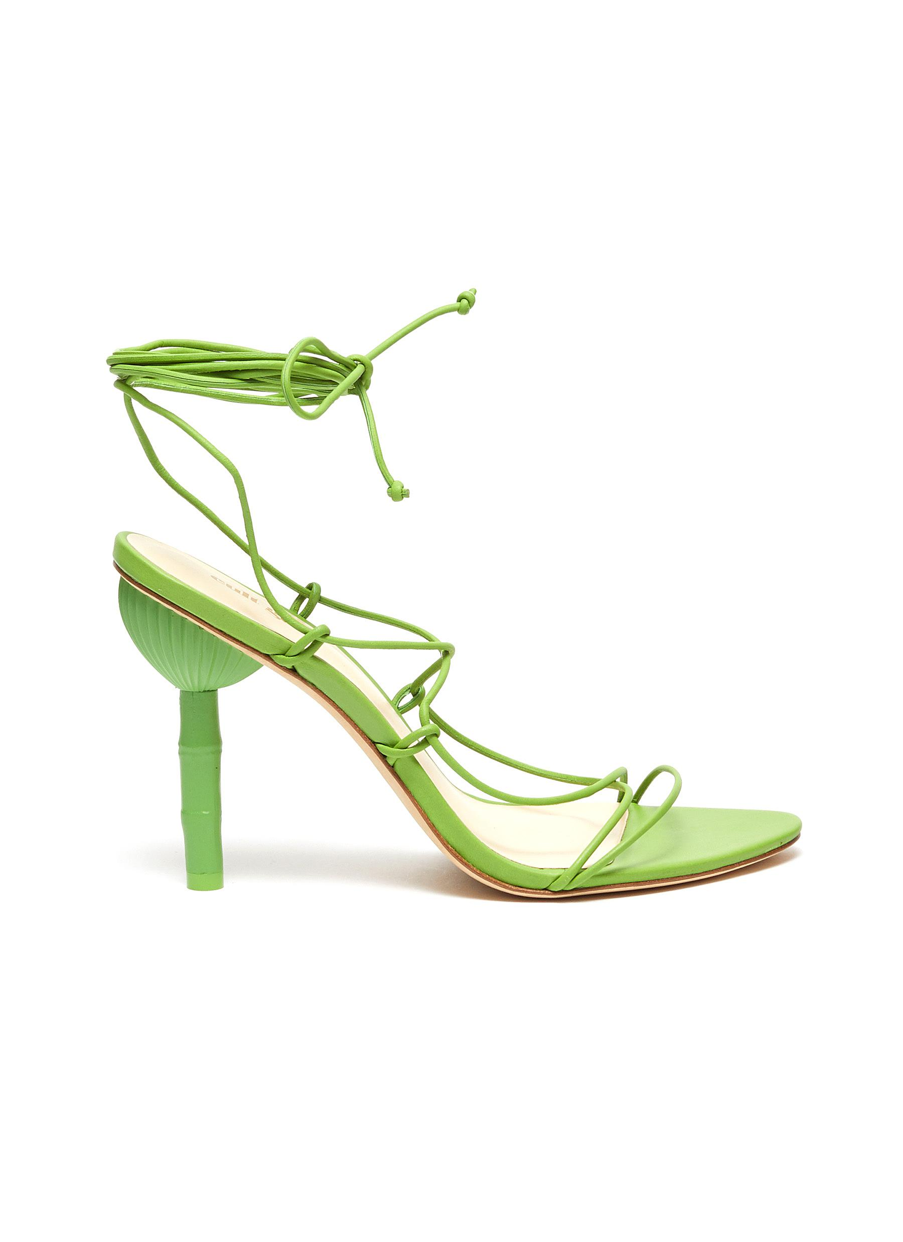 Soleil bamboo effect heel lace-up sandals by Cult Gaia