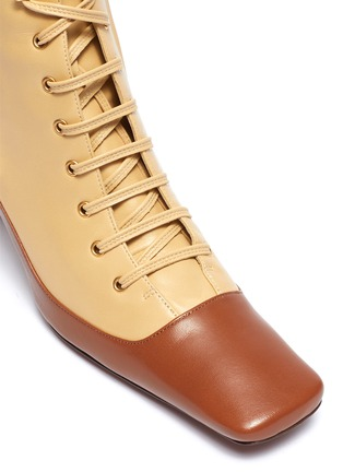 Detail View - Click To Enlarge - MANU ATELIER - 'Duck' colourblock patchwork leather lace-up ankle boots