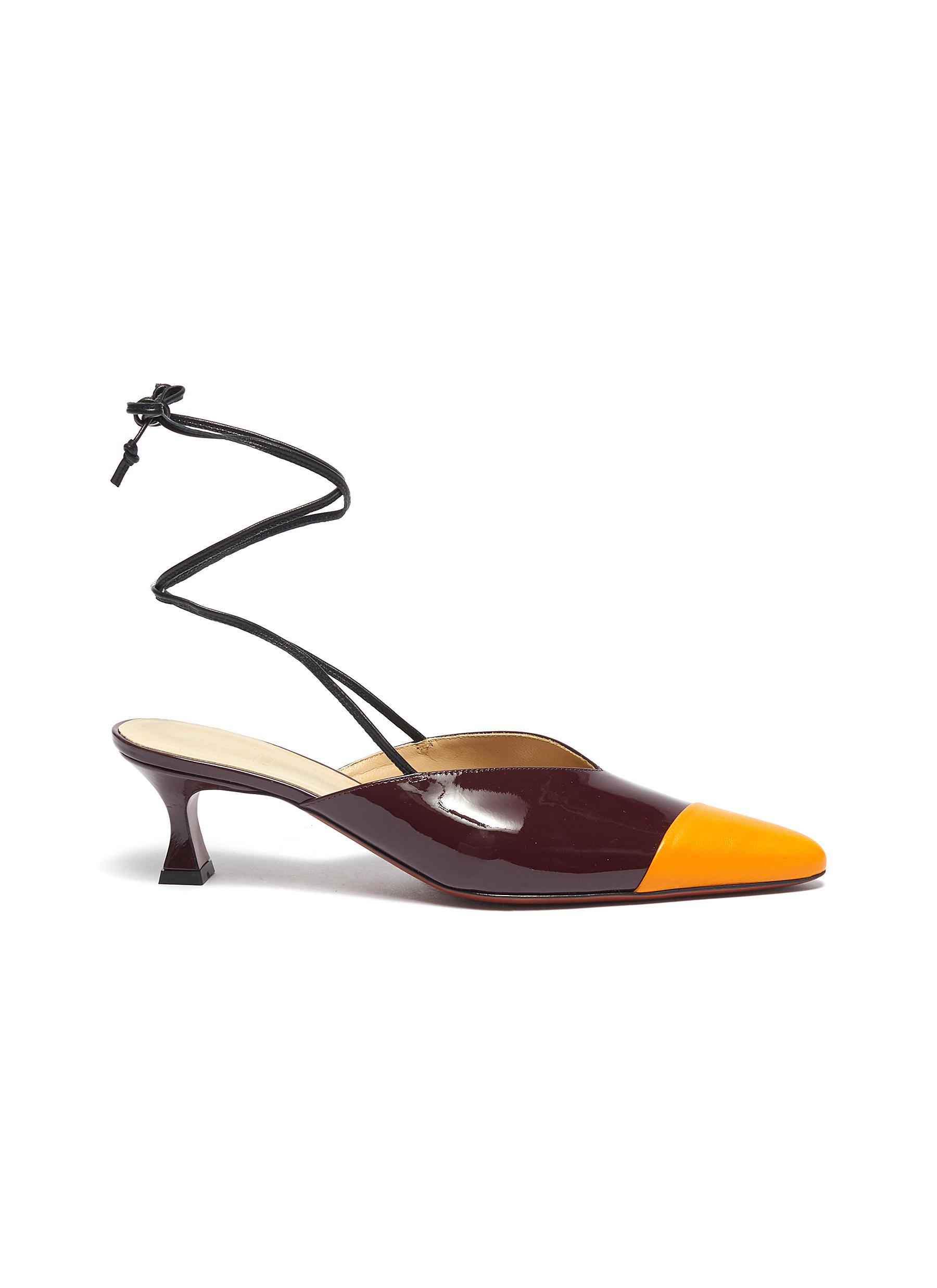 Wraparound ankle tie colourblock leather mules by Manu Atelier