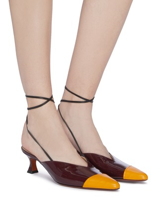 Figure View - Click To Enlarge - MANU ATELIER - Wraparound ankle tie colourblock leather mules