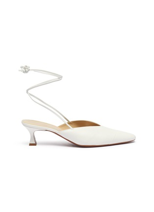 Main View - Click To Enlarge - MANU ATELIER - Wraparound ankle tie leather mules