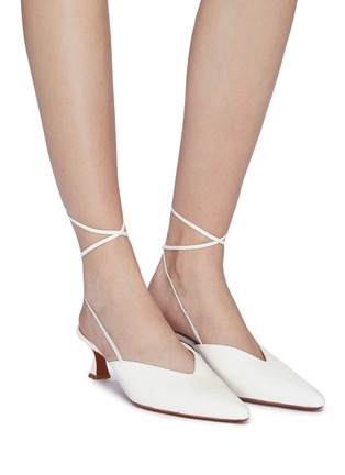 Figure View - Click To Enlarge - MANU ATELIER - Wraparound ankle tie leather mules