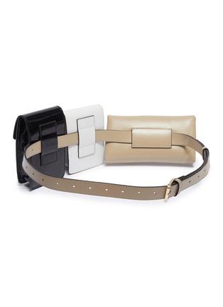 Detail View - Click To Enlarge - MANU ATELIER - 'Tech' detachable colourblock pouch leather belt bag