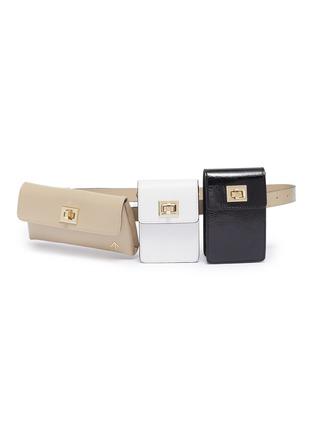 Main View - Click To Enlarge - MANU ATELIER - 'Tech' detachable colourblock pouch leather belt bag