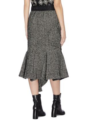 Back View - Click To Enlarge - SACAI - Asymmetric drape herringbone pleated peplum skirt