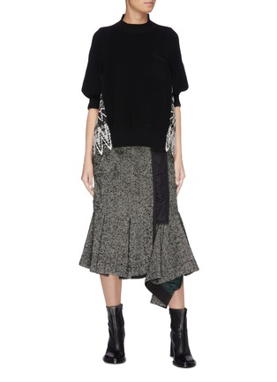 Figure View - Click To Enlarge - SACAI - Asymmetric drape herringbone pleated peplum skirt
