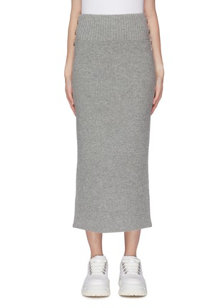Main View - Click To Enlarge - SACAI - D-ring buckle split back hem knit skirt