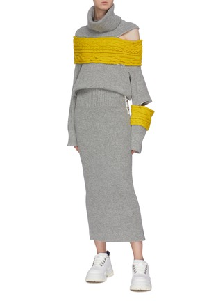 Figure View - Click To Enlarge - SACAI - D-ring buckle split back hem knit skirt