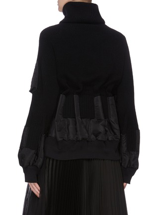 Back View - Click To Enlarge - SACAI - Detachable turtleneck bomber jacket panel sweater