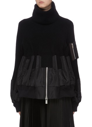 Main View - Click To Enlarge - SACAI - Detachable turtleneck bomber jacket panel sweater