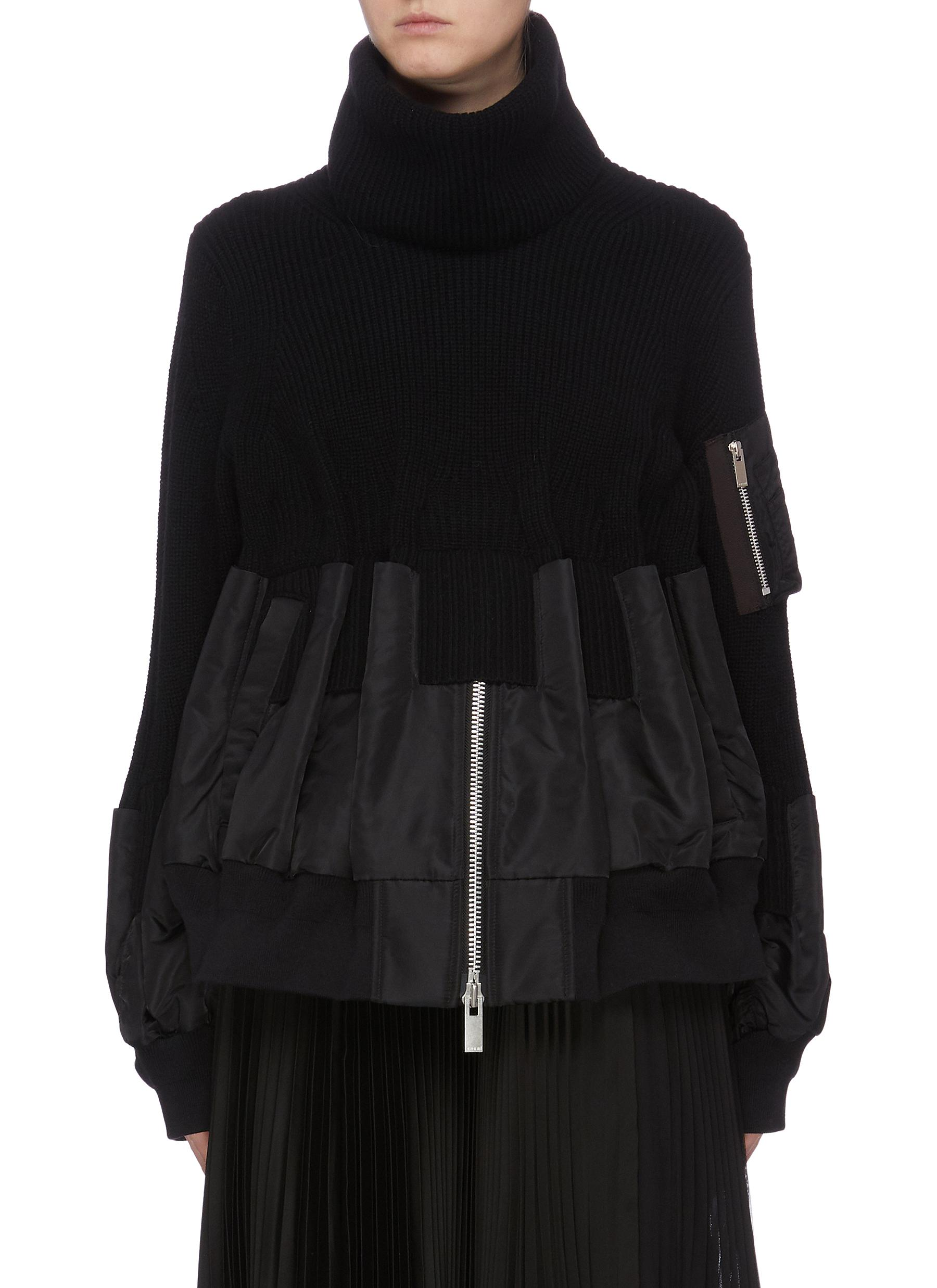 Detachable turtleneck bomber jacket panel sweater by Sacai