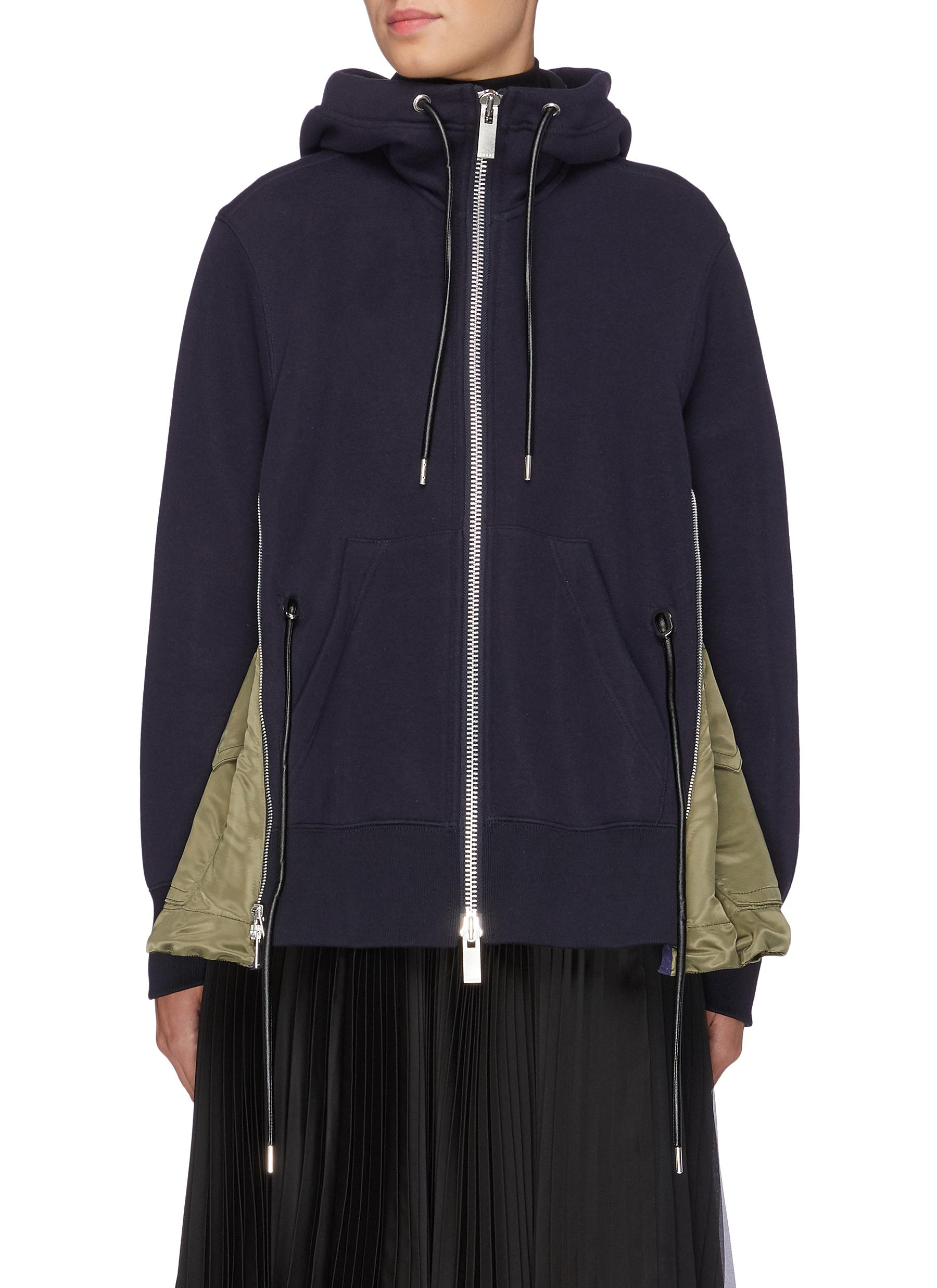 Contrast nylon zip side drawstring hoodie by Sacai