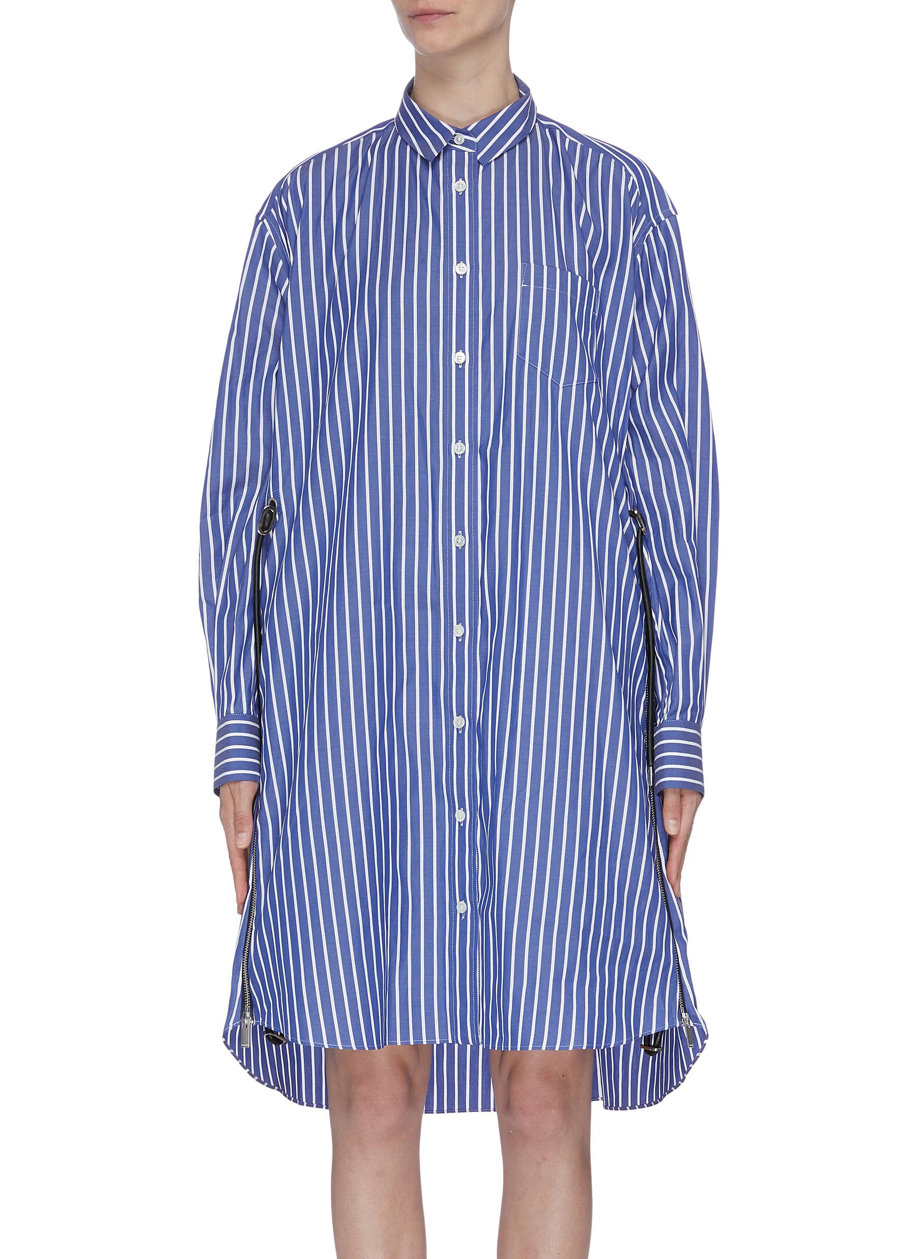 Drawstring side flare stripe shirt dress by Sacai