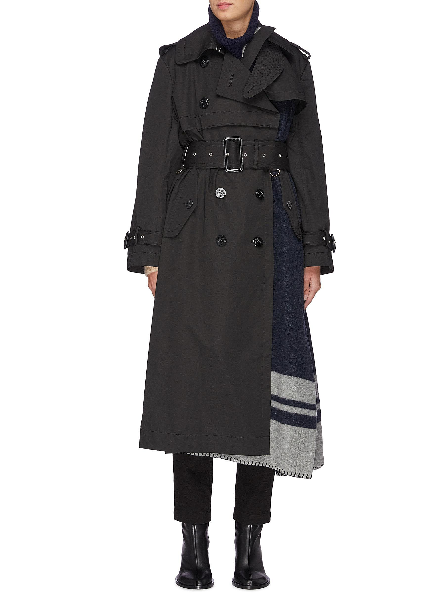 Belted logo scarf panel trench coat by Sacai