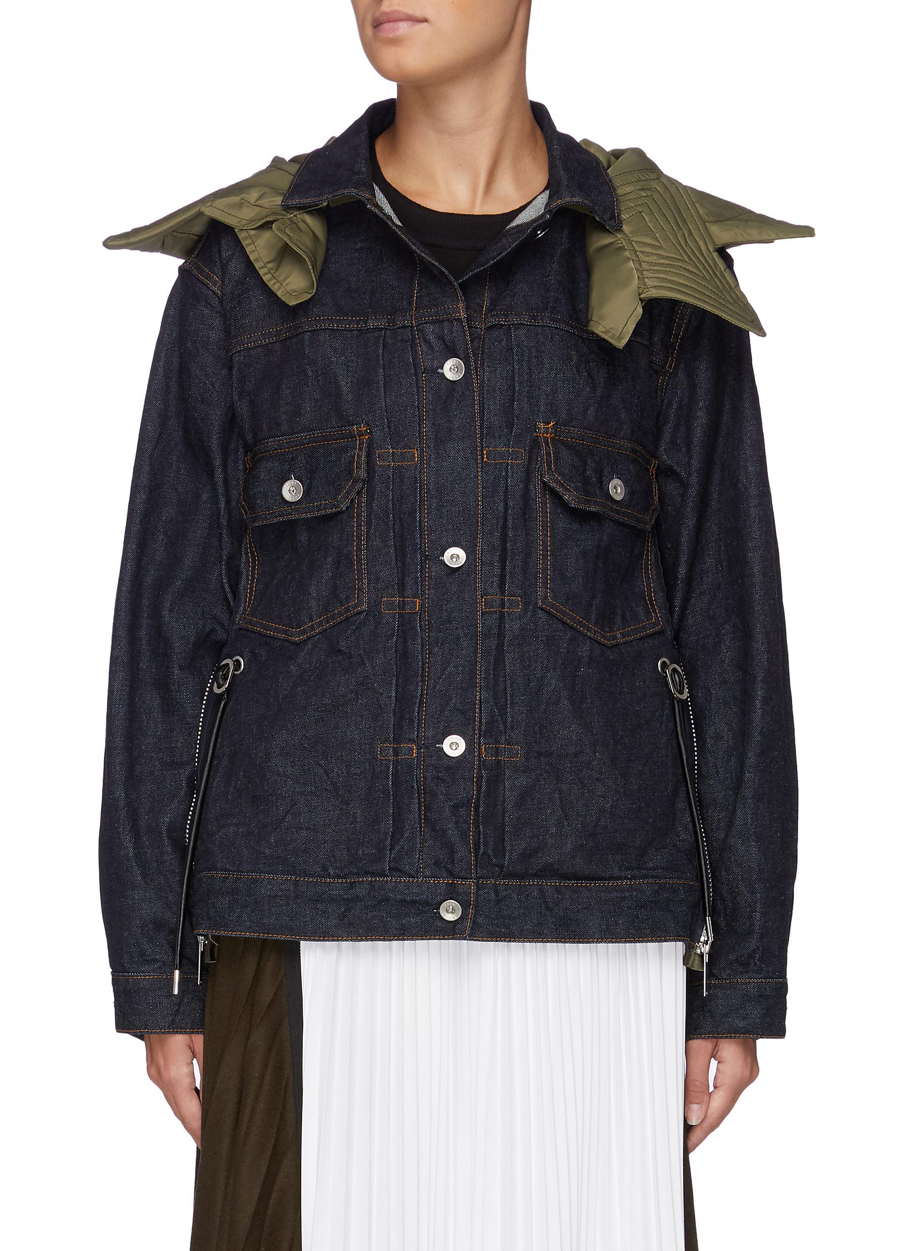 Contrast hood nylon zip side denim jacket by Sacai