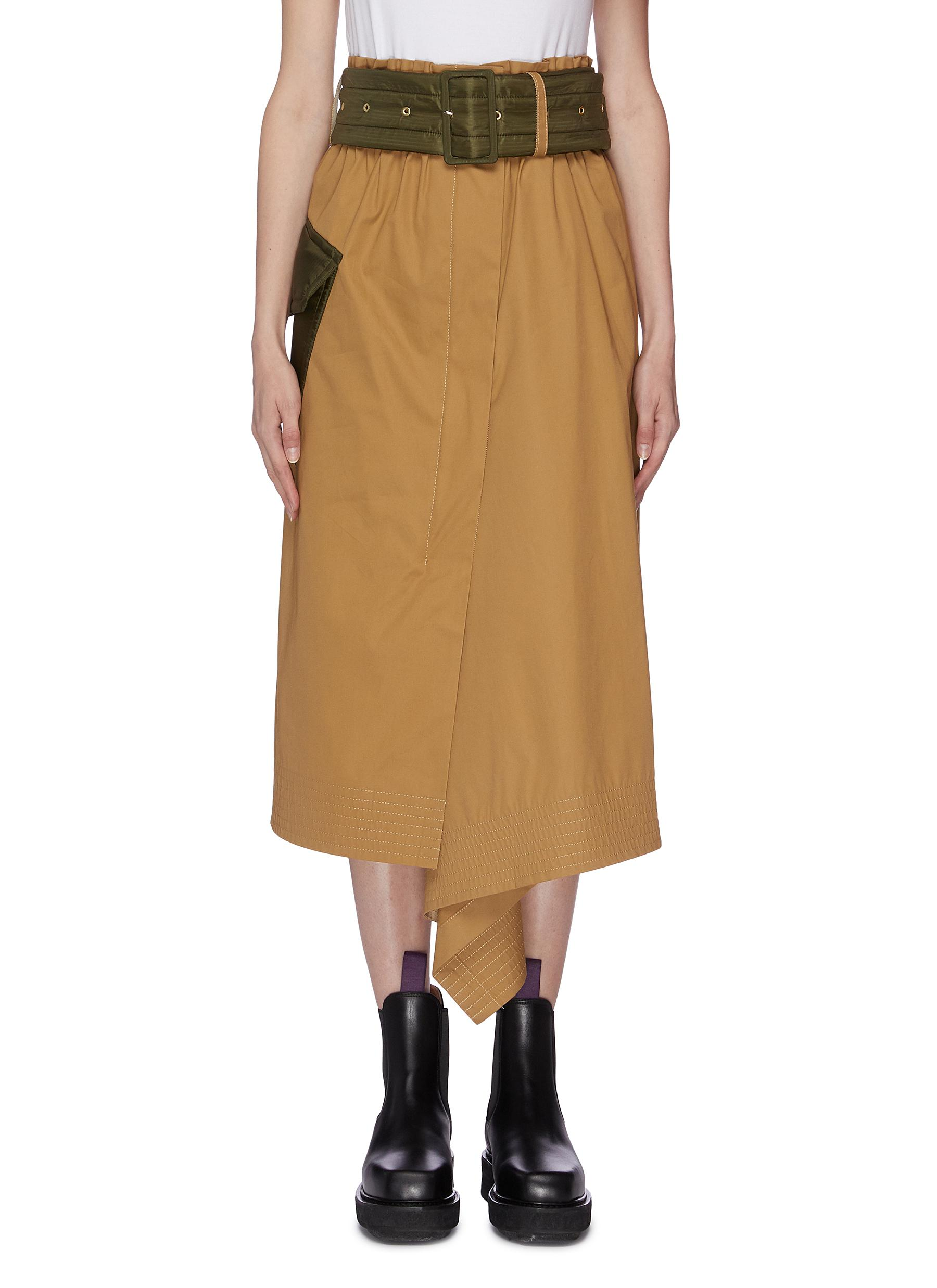 Belted patch pocket asymmetric skirt by Sacai