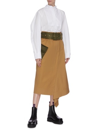 Figure View - Click To Enlarge - SACAI - Belted patch pocket asymmetric skirt