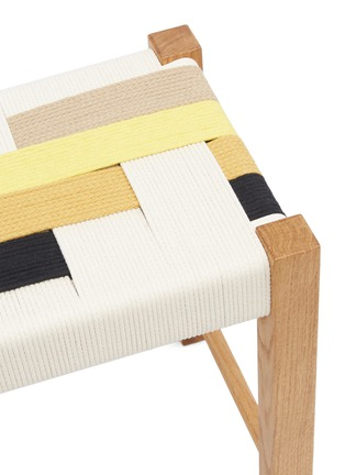 Detail View - Click To Enlarge - JO ELBOURNE - Stripes handwoven stool – Raw/Black/Gold/Sand Yellow